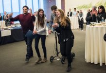 Student creators of the Companion App celebrate upon being announced the winners of the 2015 Michigan Business Challenge. Companion is a peer-to-peer safety network that allows people to stay safe by keeping in touch with others while walking from one place to another.